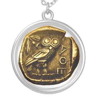Owl on ancient greek coin silver plated necklace