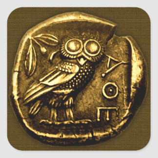 Owl on ancient greek coin square sticker