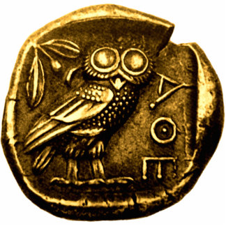 Owl on ancient greek coin statuette