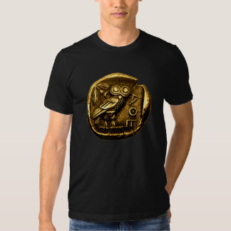 Owl on ancient greek coin t shirts