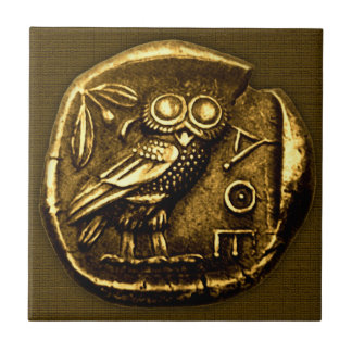 Owl on ancient greek coin tile