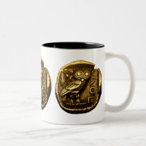 Owl on ancient greek coin Two-Tone coffee mug