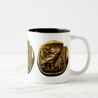 Owl on ancient greek coin Two-Tone coffee mug