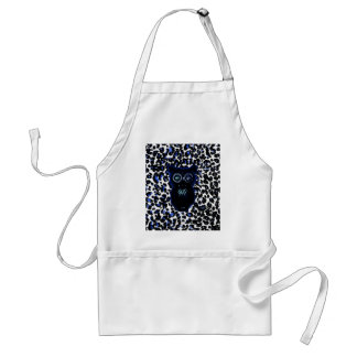 Owl On Black and Blue Leopard Spots Adult Apron