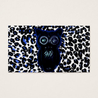 Owl On Black and Blue Leopard Spots Business Card
