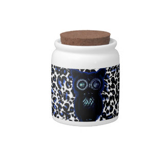 Owl On Black and Blue Leopard Spots Candy Jars
