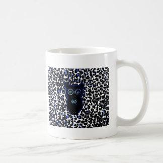 Owl On Black and Blue Leopard Spots Coffee Mug