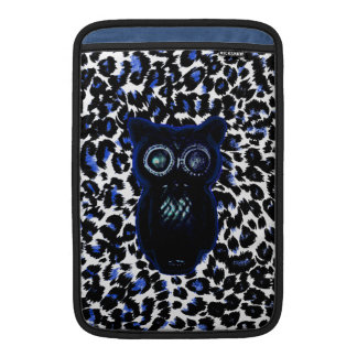 Owl On Black and Blue Leopard Spots Sleeves For MacBook Air