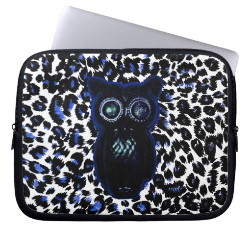 Owl On Black and Blue Leopard Spots Laptop Sleeves