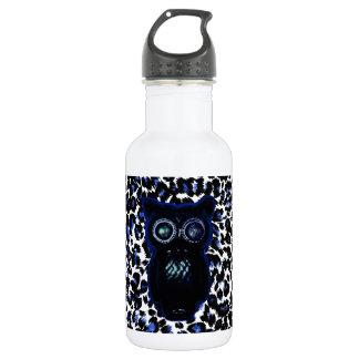 Owl On Black and Blue Leopard Spots 18oz Water Bottle