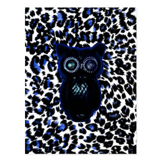 Owl On Black and Blue Leopard Spots Post Cards