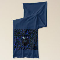 Owl On Black and Blue Leopard Spots Scarf
