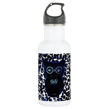 Halloween Themed Owl On Black and Blue Leopard Spots Water Bottle