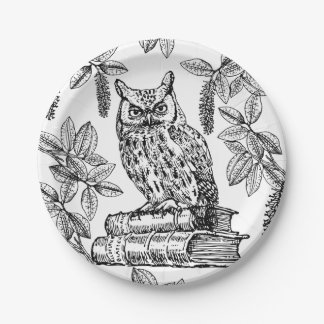 Owl on Books (Black and White) 7 Inch Paper Plate