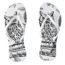 Owl on Books (Black and White) Flip Flops
