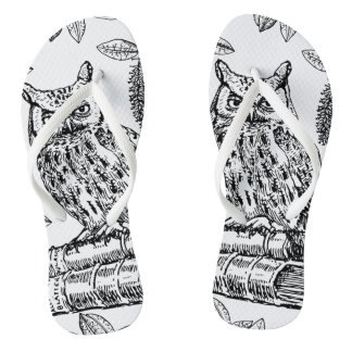 Owl on Books (Black and White) Flip Flops