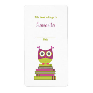 Owl on Books Bookplate Label Purple/Chartreuse