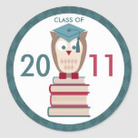 Owl on Books Class of Stickers