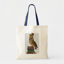 Owl On Books Tote Bag