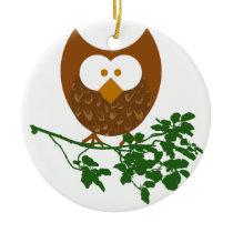 Owl on Branch #1 Ceramic Ornament