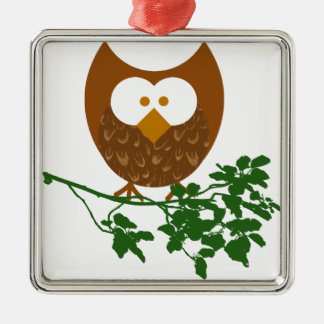 Owl on Branch #1 Metal Ornament