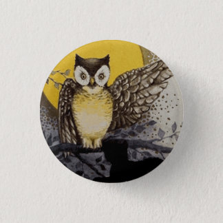 Owl on Branch In front of Moon watching black cat Button