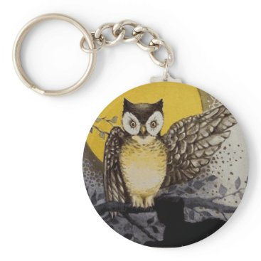 Halloween Themed Owl on Branch In front of Moon watching black cat Keychain