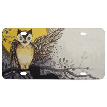 Halloween Themed Owl on Branch In front of Moon watching black cat License Plate