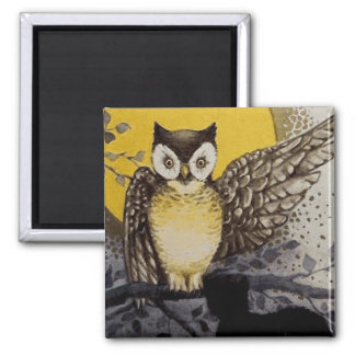 Owl on Branch In front of Moon watching black cat Magnet