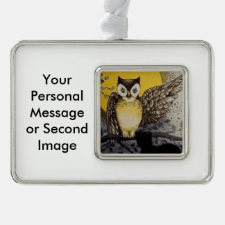 Owl on Branch In front of Moon watching black cat Ornament