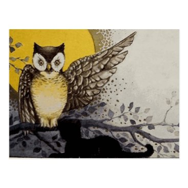 Halloween Themed Owl on Branch In front of Moon watching black cat Postcard