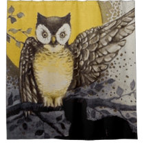 Owl on Branch In front of Moon watching black cat Shower Curtain