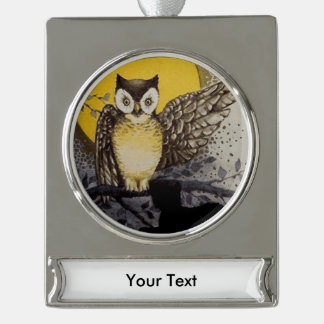 Owl on Branch In front of Moon watching black cat Silver Plated Banner Ornament