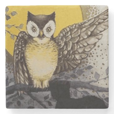Halloween Themed Owl on Branch In front of Moon watching black cat Stone Coaster