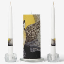 Owl on Branch In front of Moon watching black cat Unity Candle Set