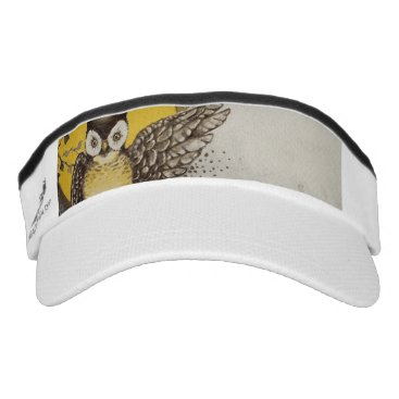 Halloween Themed Owl on Branch In front of Moon watching black cat Visor