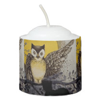 Owl on Branch In front of Moon watching black cat Votive Candle