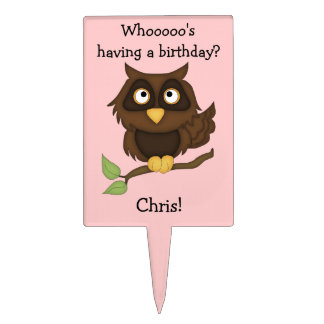 Owl on Branch Personalize with Name Cake Topper