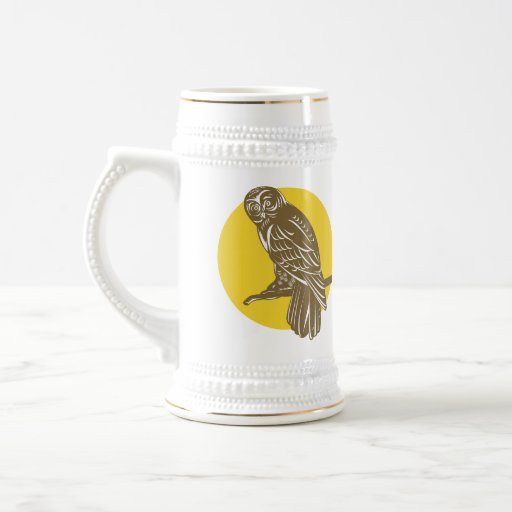 Owl on Branch Retro Beer Steins