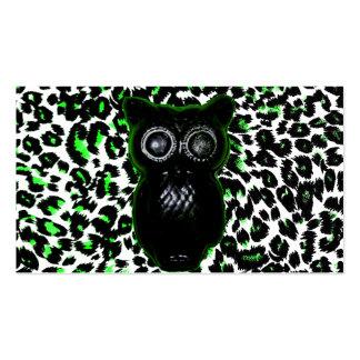 Owl On Green Leopard Spots Business Card