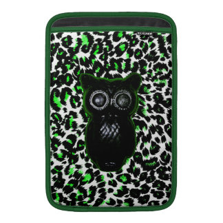Owl On Green Leopard Spots Sleeves For MacBook Air