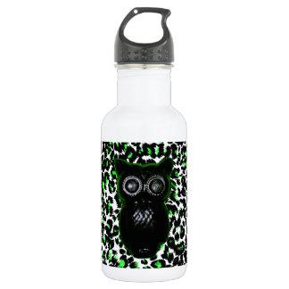 Owl On Green Leopard Spots 18oz Water Bottle