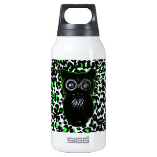 Owl On Green Leopard Spots 10 Oz Insulated SIGG Thermos Water Bottle