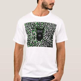 Owl On Green Leopard Spots T-Shirt