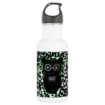 Halloween Themed Owl On Green Leopard Spots Water Bottle