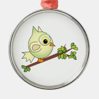 Owl On Limb Round Metal Christmas Ornament