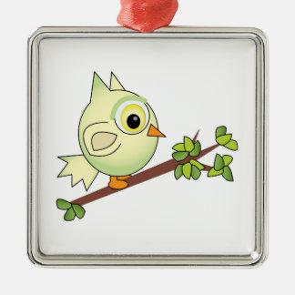 Owl On Limb Square Metal Christmas Ornament
