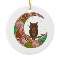 Owl on Moon Ceramic Ornament