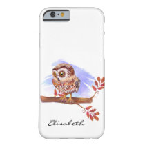 Owl on oak watercolor barely there iPhone 6 case
