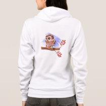 Owl on oak watercolor hoodie